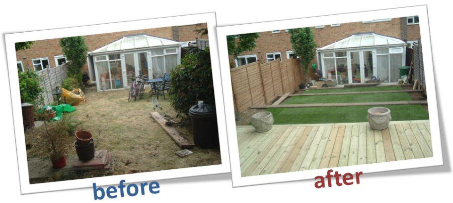 D a charlton builders gardens for Garden decking before and after